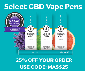 Select CBD Vape Pens 25% off your order